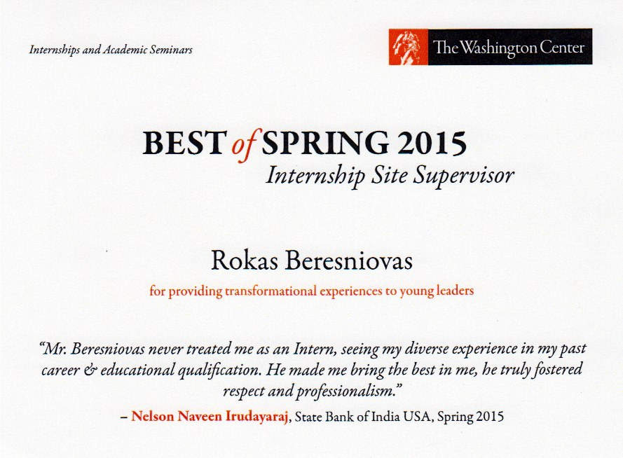 Rokas received an award for The Washington Center's Spring 2015 Internship Site Supervisor Award.
